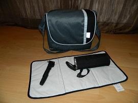 Die passende Wickeltasche mit Flaschenwärmer (Luftpumpe war nicht dabei!)